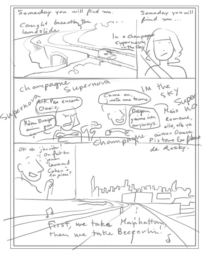 1. Premier brouillon. Au début, j'avais le réflexe de vouloir en mettre le plus possible dans une page.