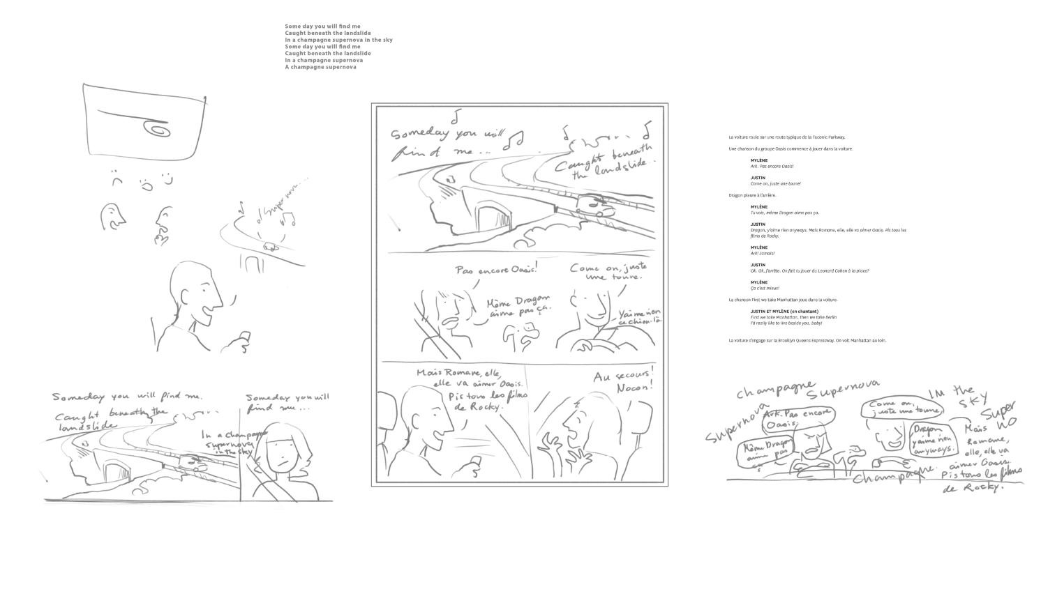 2. Donc, j'ai tout aéré. Ça, c'est dans Photoshop. J'aime créer plein d'espace autour de la planche pour sketcher et mettre le manuscrit à portée de vue.