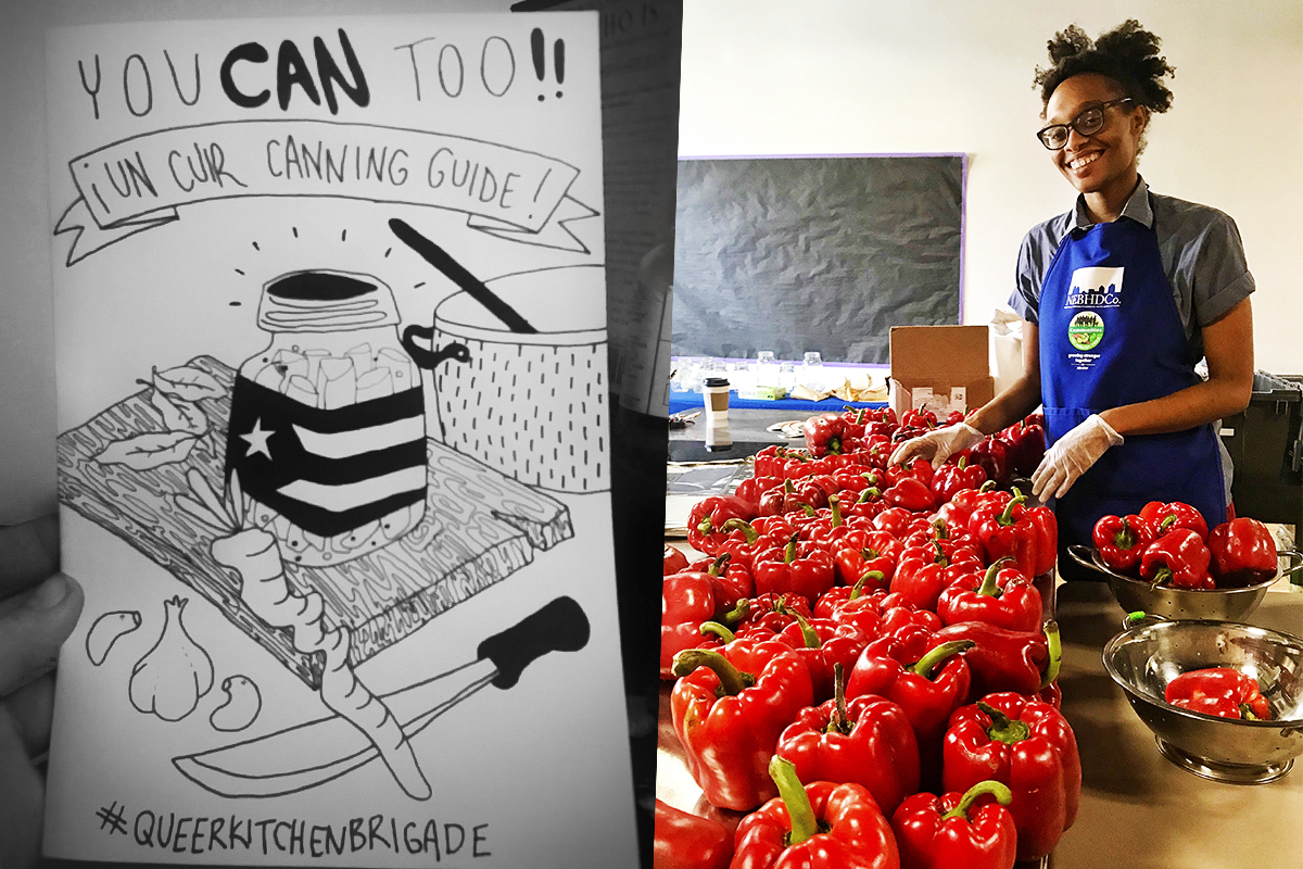 Right: The QKB's Ashleigh Eubanks packs a peck of pickled peppers. (From VillageVoice.com)