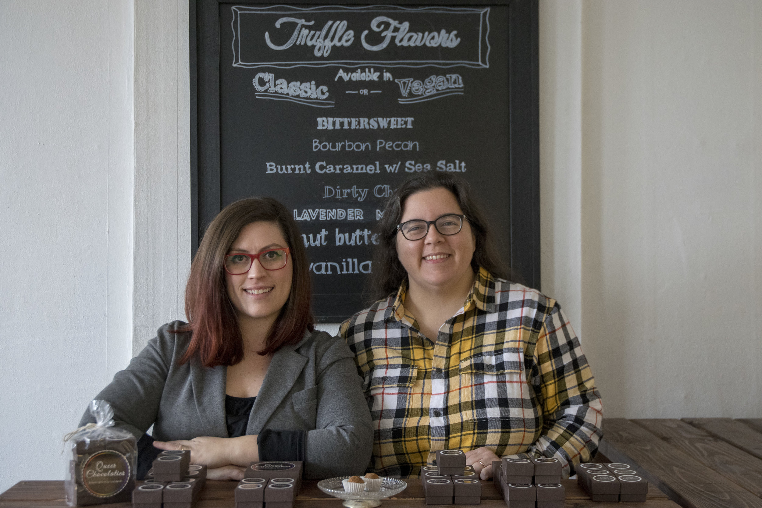 Cheri Ellefson (left) and Morgan Roddy at their retail space for their business, Queer Chocolatier in Muncie, IN.