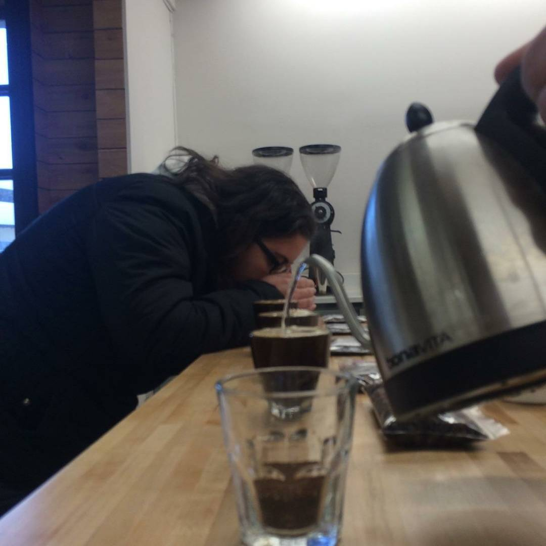 Coffee cupping for the first time at Quills Coffee in Louisville, KY.