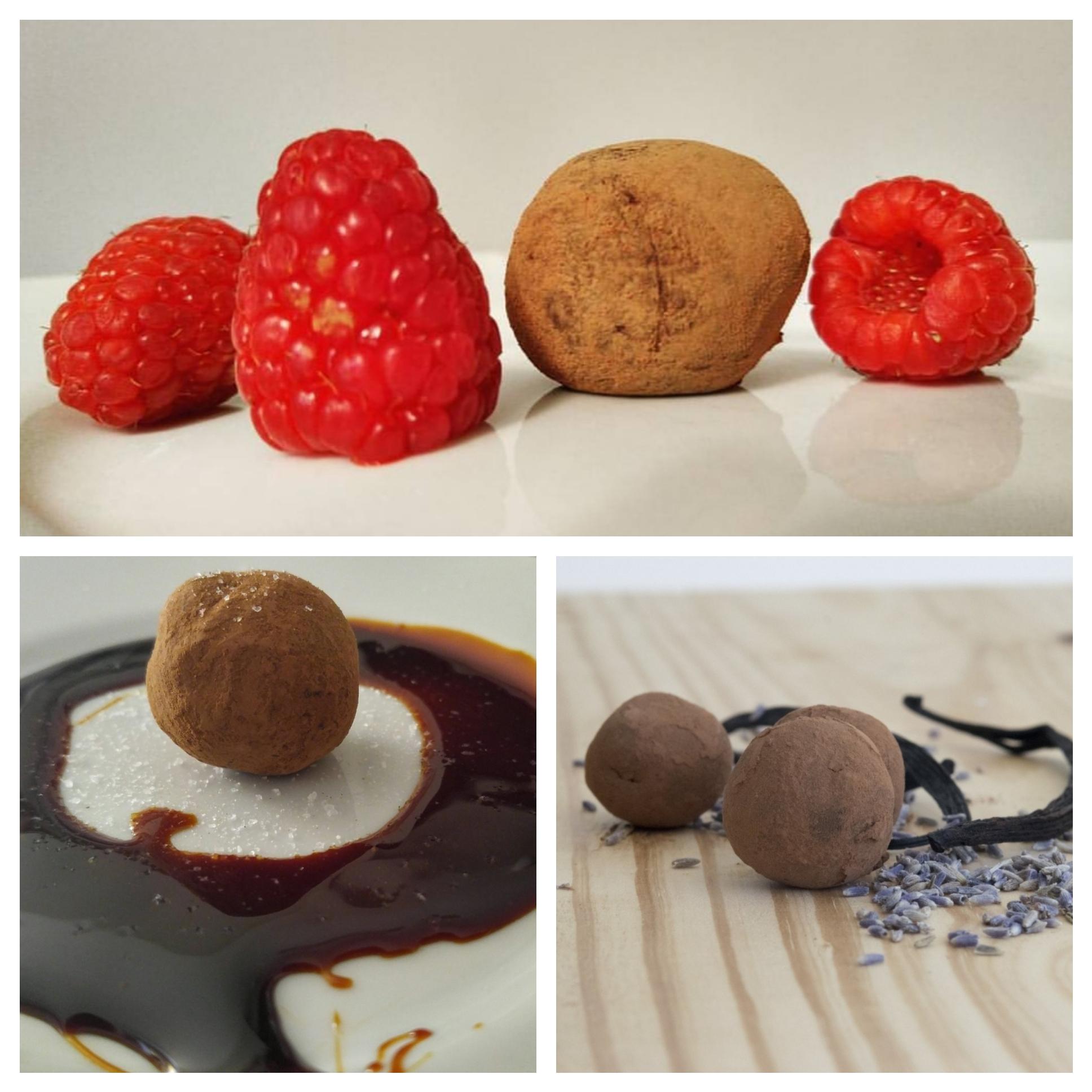 From Top: Raspberry Balsamic Vinegar, Burnt Caramel w/ Sea Salt, and Lavender Menace Truffles.