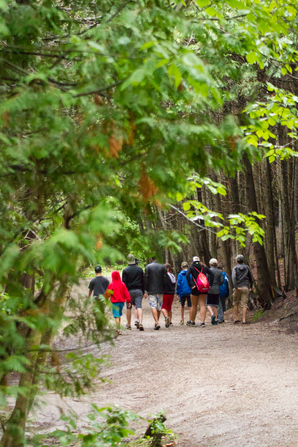 Summer campers at Camp Kintail walking on a path