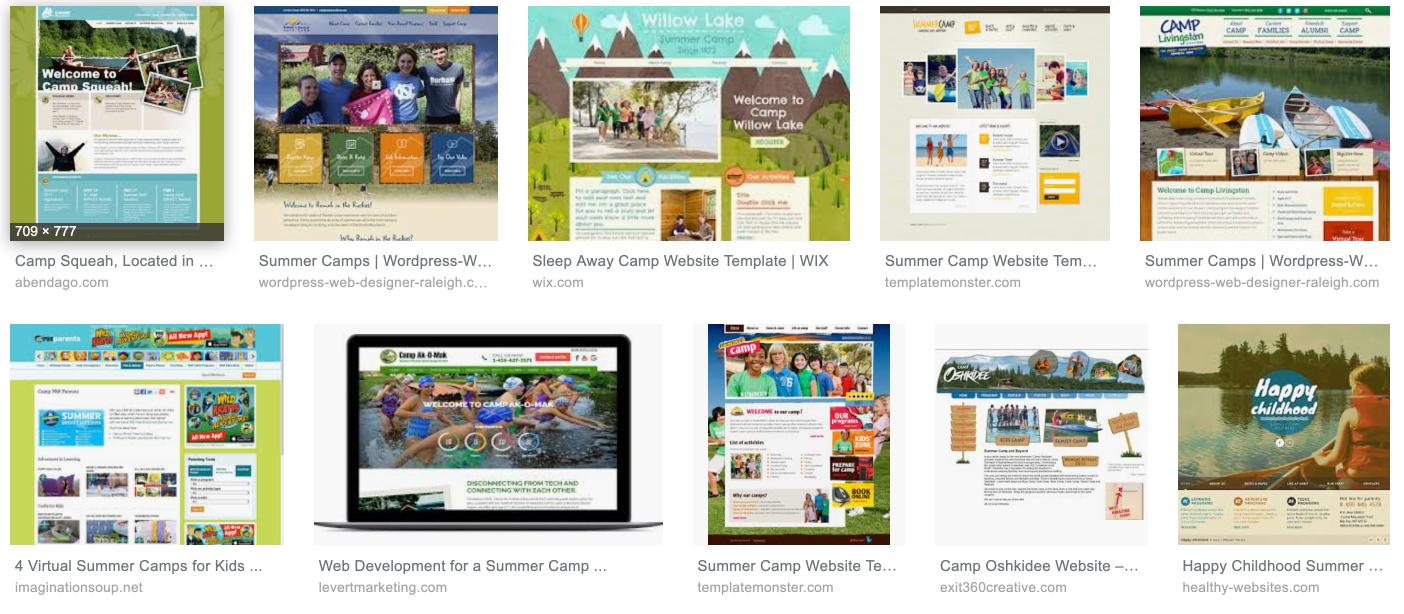 Camp Websites on Google