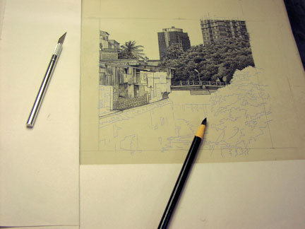 Litho Pencil and Exacto Knife