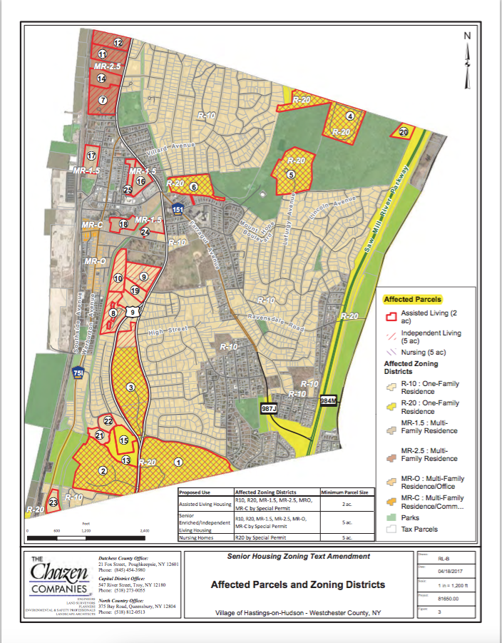 PROPOSED ZONING MAP. IMPACTED PARCELS RANGE FROM ST. MATTHEWS SCHOOL TO TOMPKINS AND BROADWAY