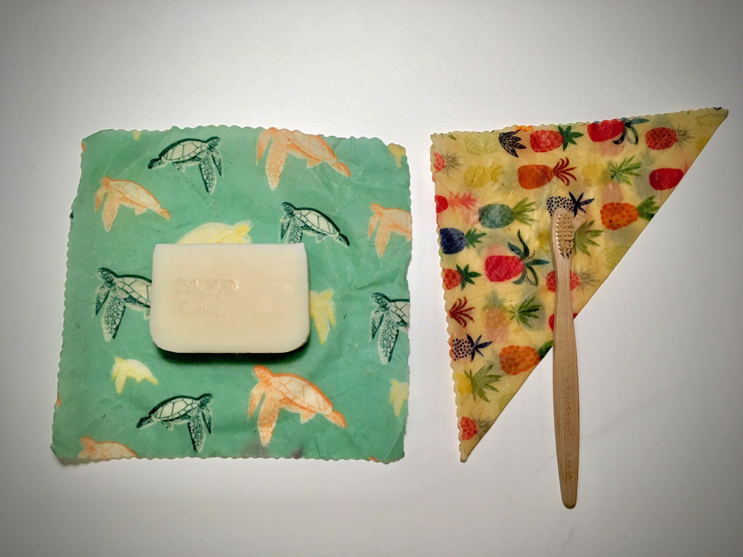 Beeswax Wraps for covering soap and toothbrush!