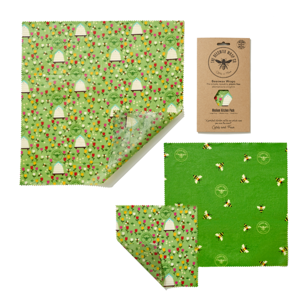 An image of Medium Beeswax Wraps Kitchen Pack