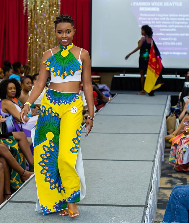 Designer: @ruth_esther_seamstress  Photographer: @scottscherer44  Model: @switypiec  Event: @africafashionweekseattle  MUA: @kendettaartistry