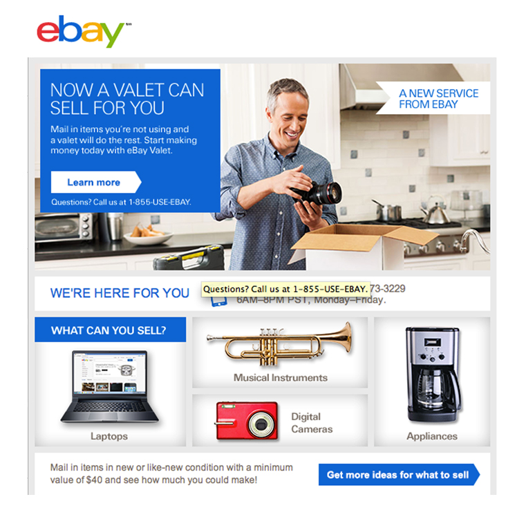 photo of webpage describing the ebay valet selling service with a man packing up a camera, laptop computer, coffee maker, small red camera and brass trumpet