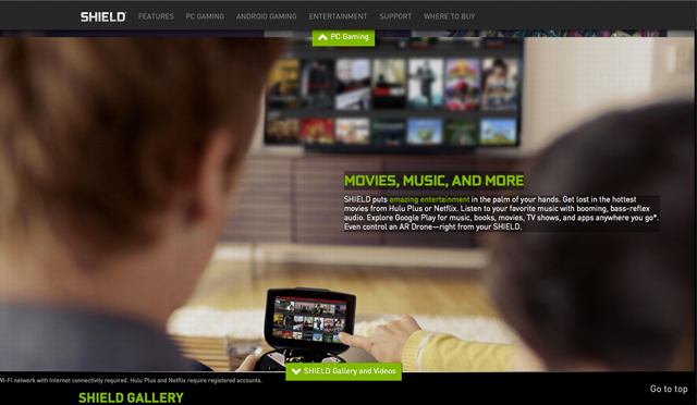 photo from Nvidia's website of the heads of a couple viewing the same screen image on their Shield and the TV in the background