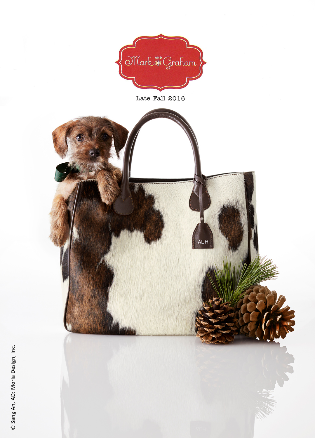 photo of Mark & Graham holiday catalog cover of a brown puppy popping out of large a cow hide handbag