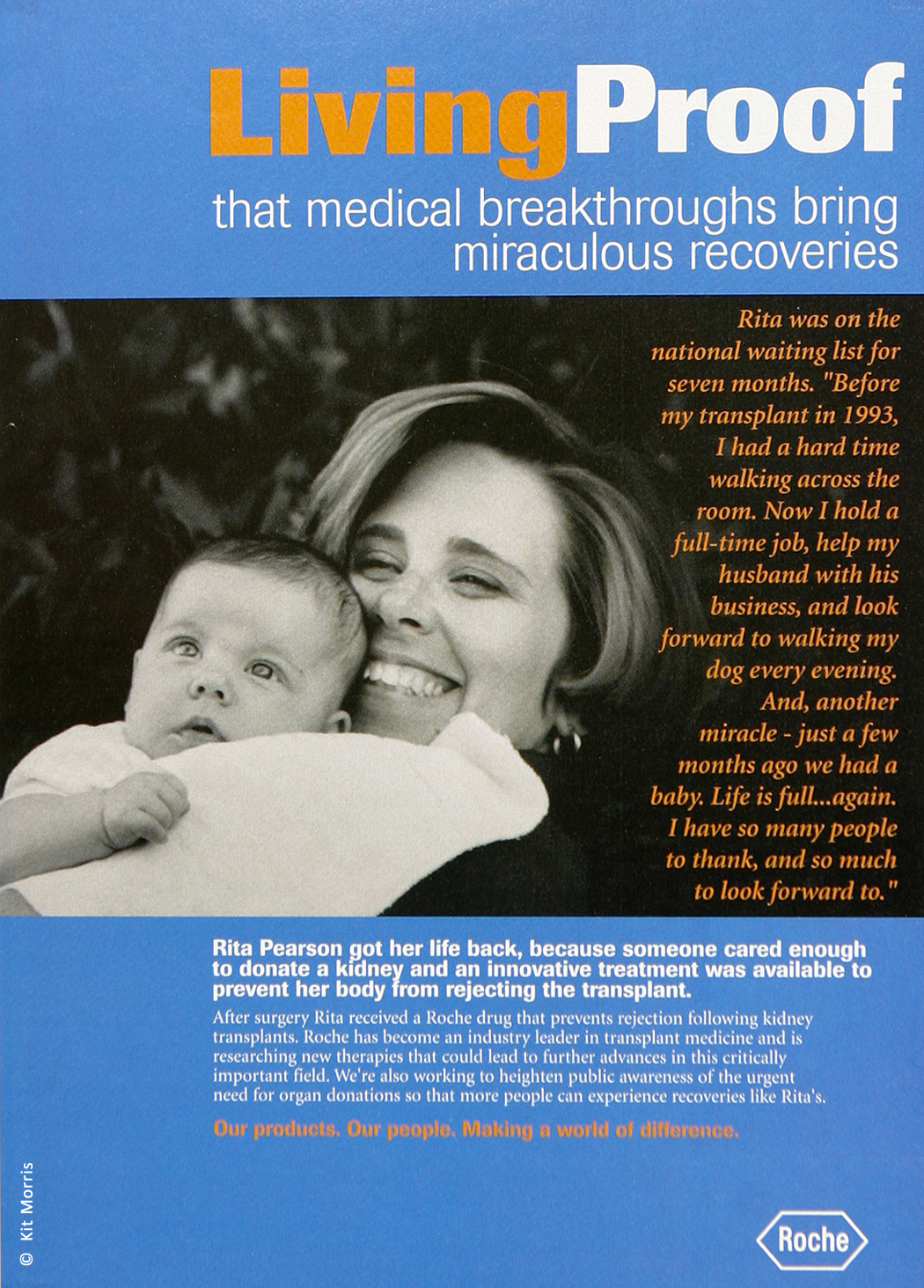 Photo of an magazine ad of smiling new mother and successful kidney transplant recipient hugging her new baby