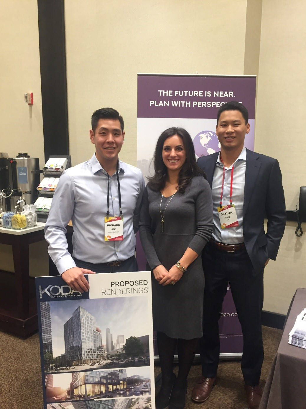 Richard Jee of Da-Li Development (left), Whitney Heffernan (RSIR), and Dehlan Gwo (RSIR) represented KODA Condominiums, NEXUS Seattle, and the FutureCast Forum at the Bisnow Multifamily event.