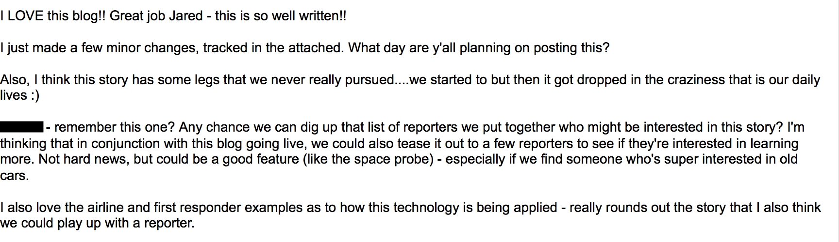 - IBM's team of editors thoughts on my rough draft.