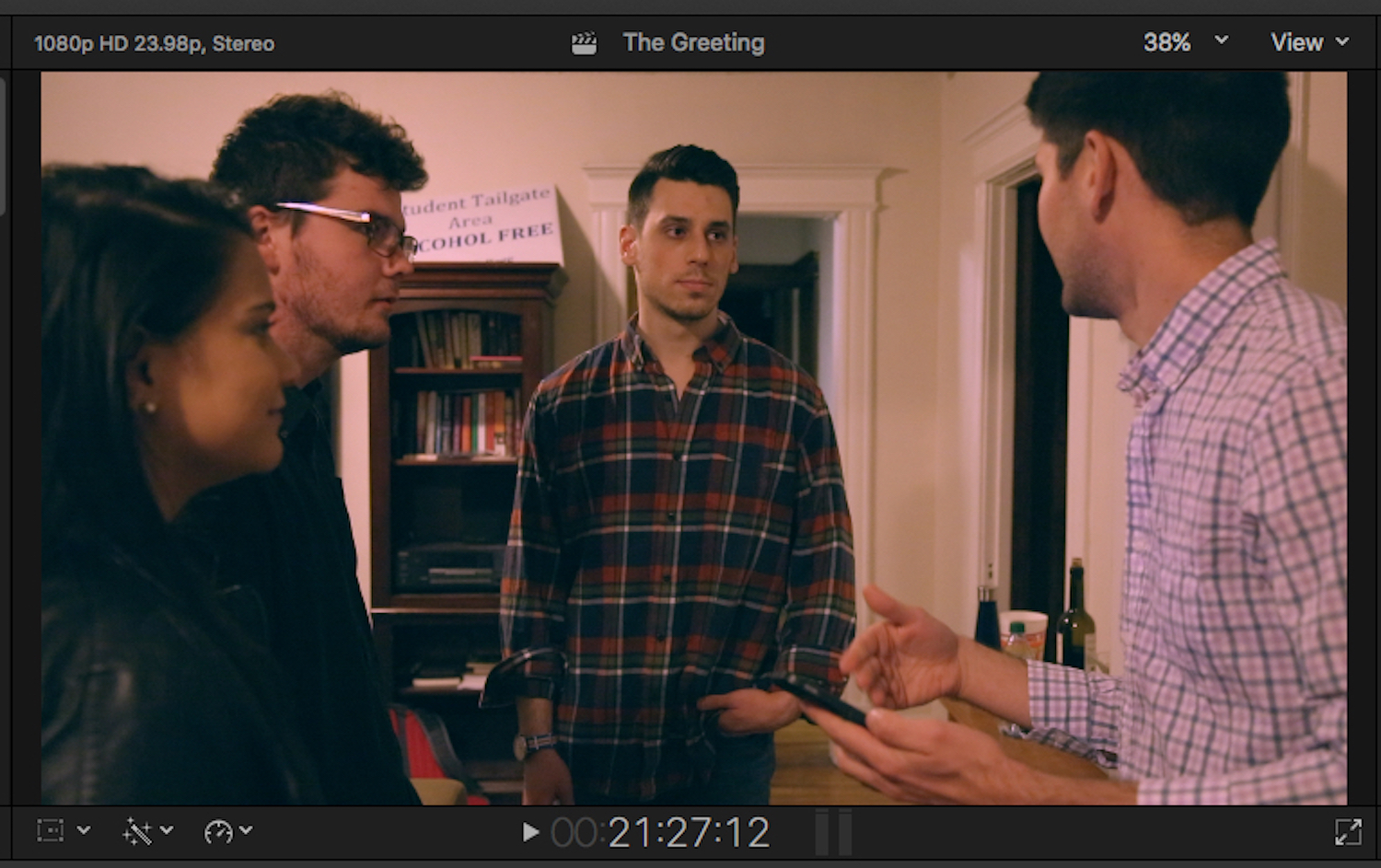 As a member of The Moveable Joints, Trinity College's improv group, I recruited nearly all of the members to be in my movie. I wanted actors that had comedic timing and I knew could work off-script if needed.
