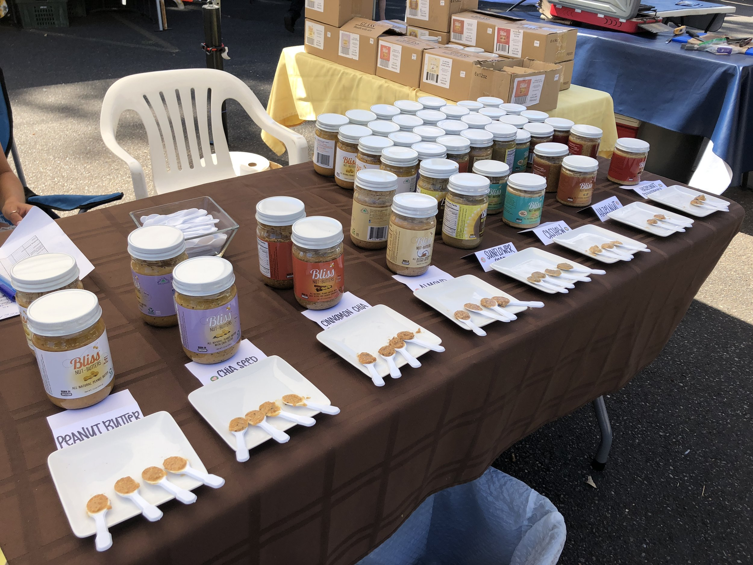 An array of nut butter samples