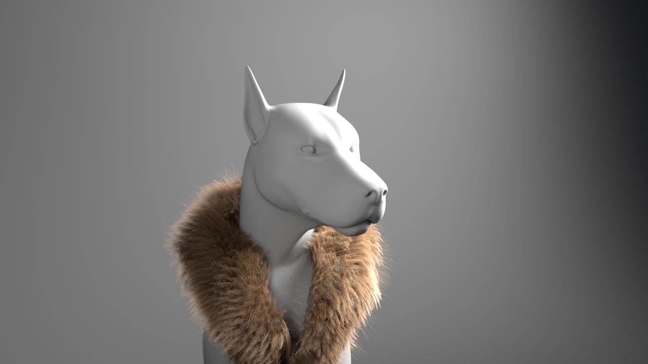 Fur scarf shot in process