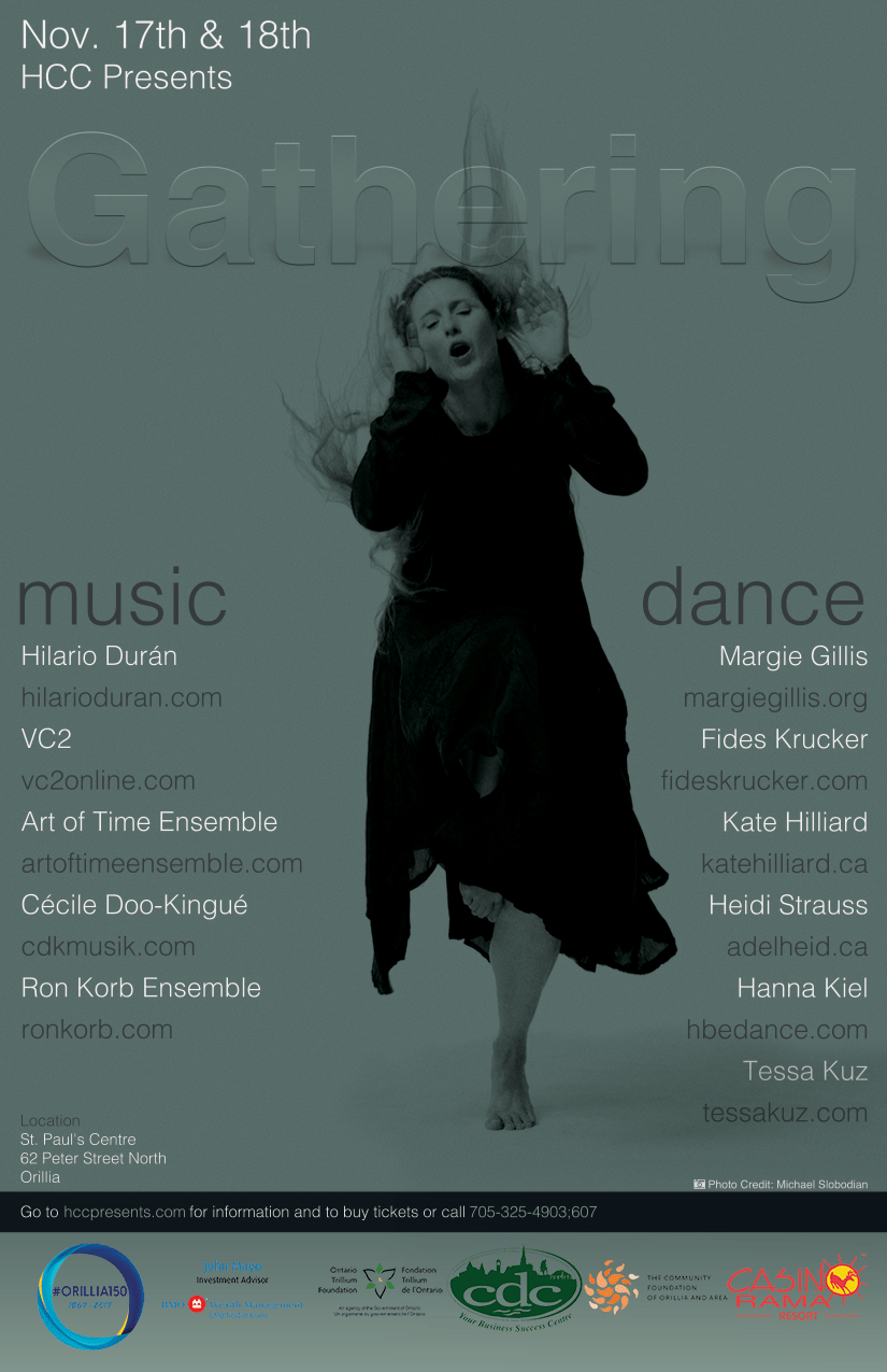 Gathering (Nov 17th-18th) - Had the pleasure of dancing in Orillia ON with Kate Hilliard in her new work, as well as a duet choreographed by Hannah Kiel performed with Miyeko Ferguson. Was an honor to share the stage with Heidi Stauss of Adelheid, Fides Krucker, and the legendary Margi Gillis.