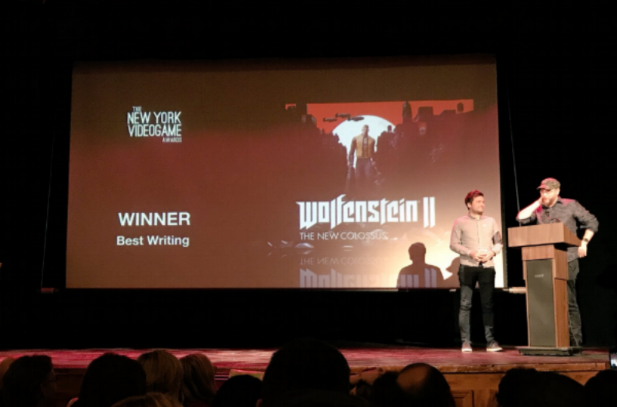 Developers from Bethesda accepting the award for Best Writing, in  Wolfenstein II.