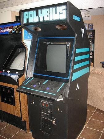 A fan-made mockup of the Polybius cabinet. No verifiable photos of the original cabinet exist.
