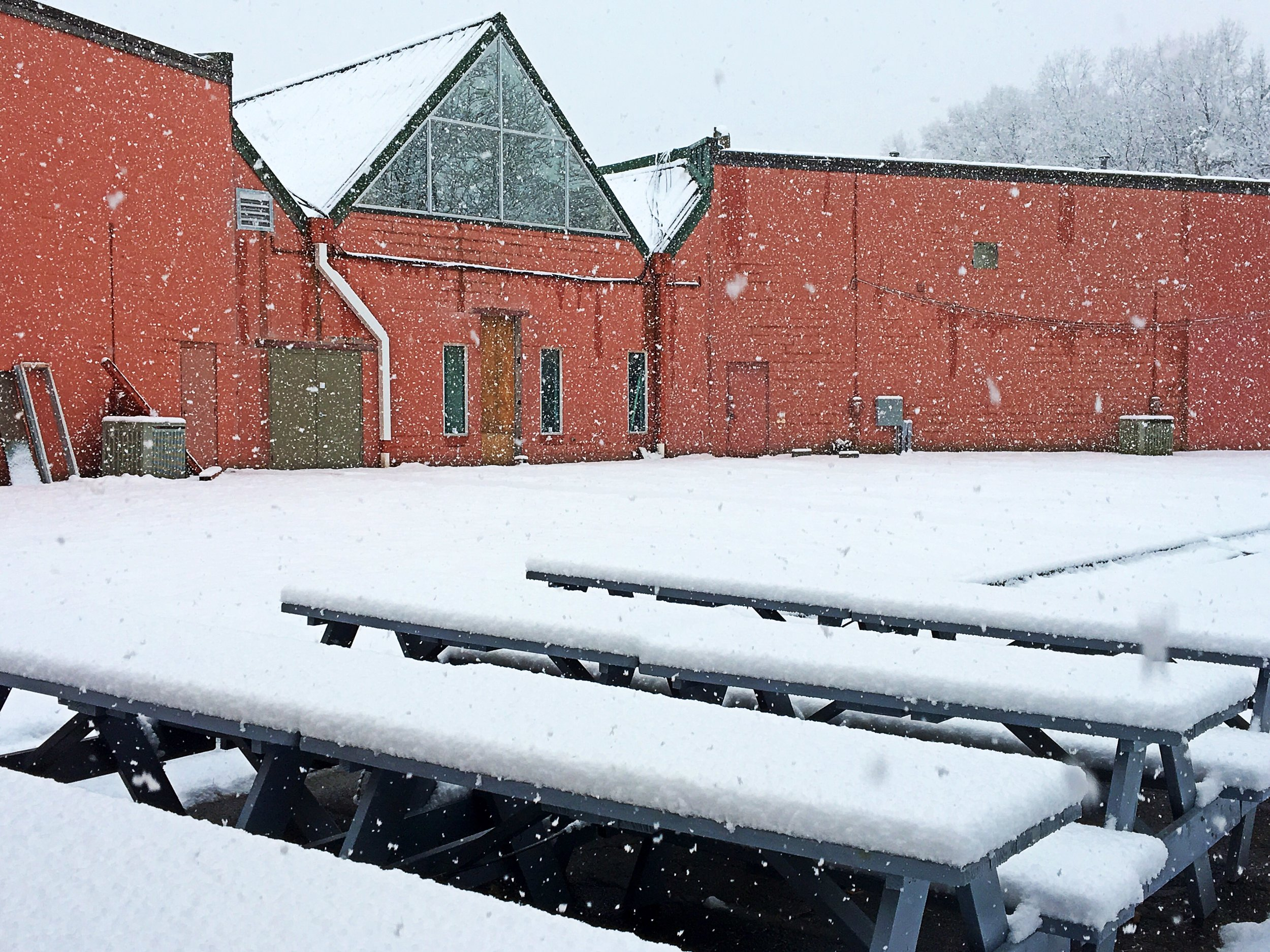 The future beer garden covered in snow in the middle of the snowstorm last Wednesday.