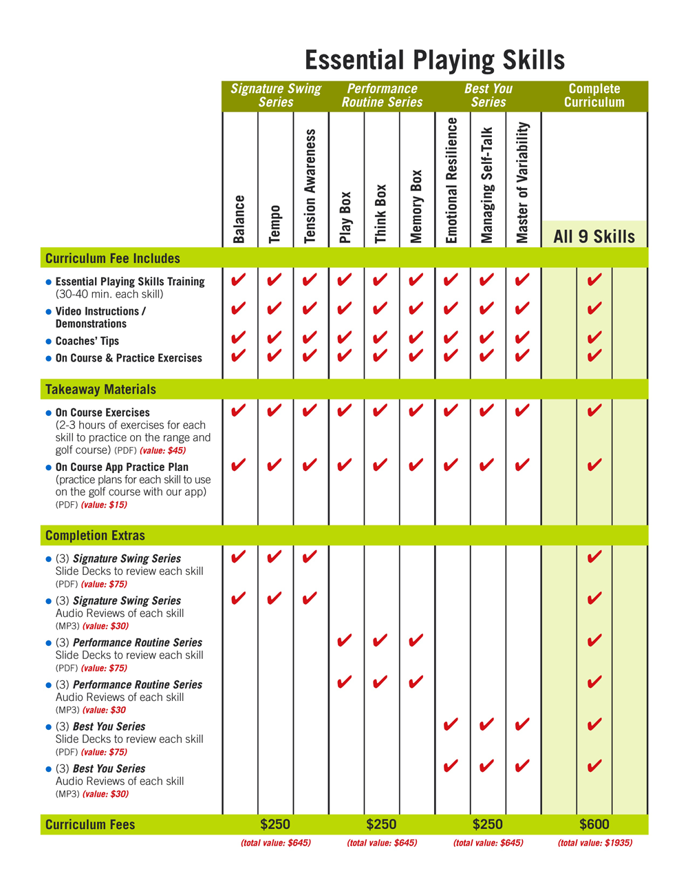 MYGAME Pricing Matrix