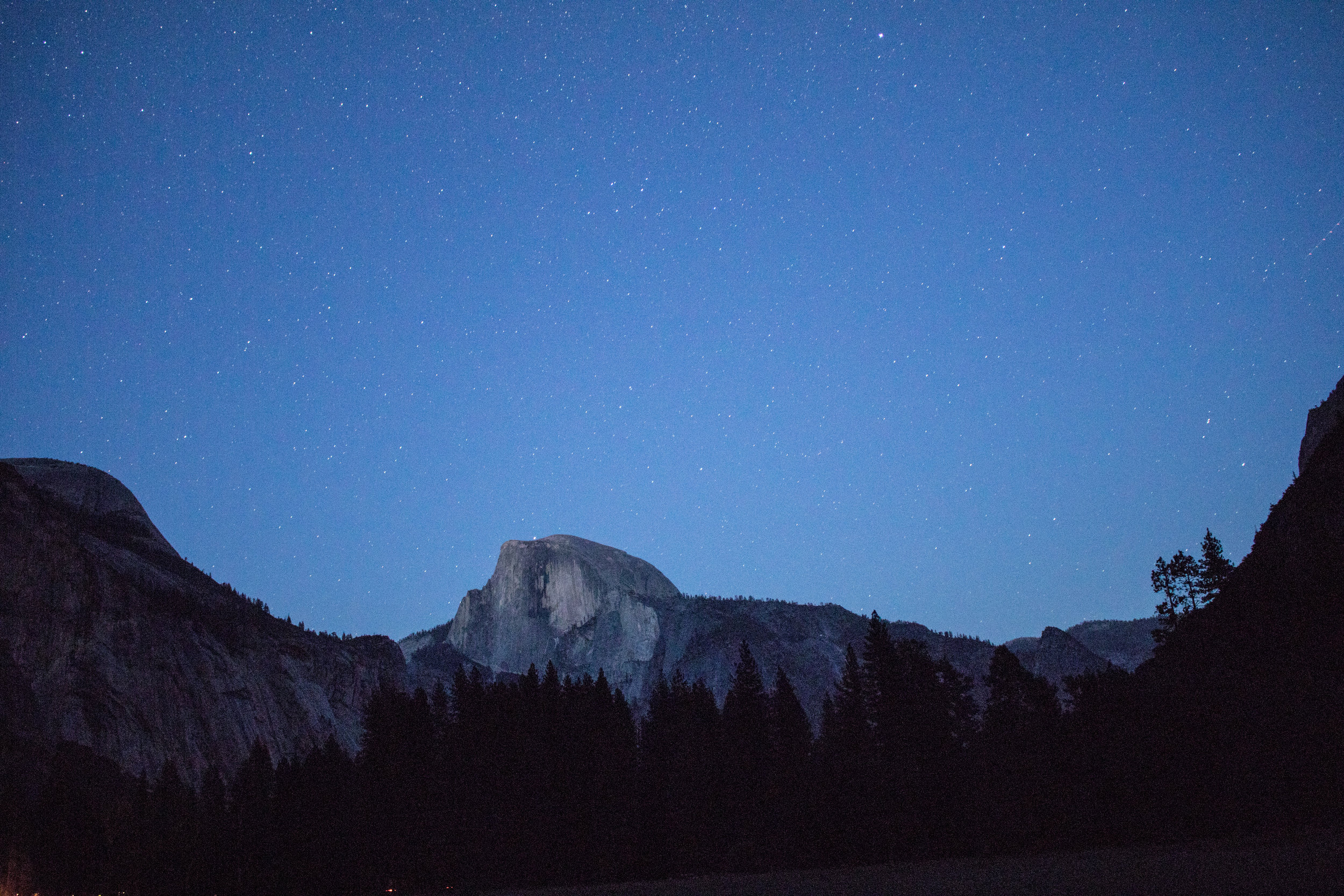Half Dome Starry Sky from the Meadow - Yosemite