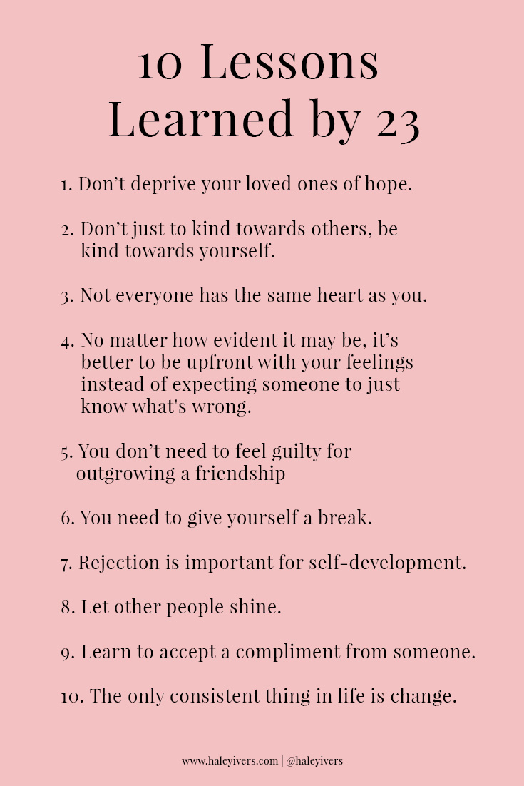 10 Lessons Learned by 23 by Haley Ivers