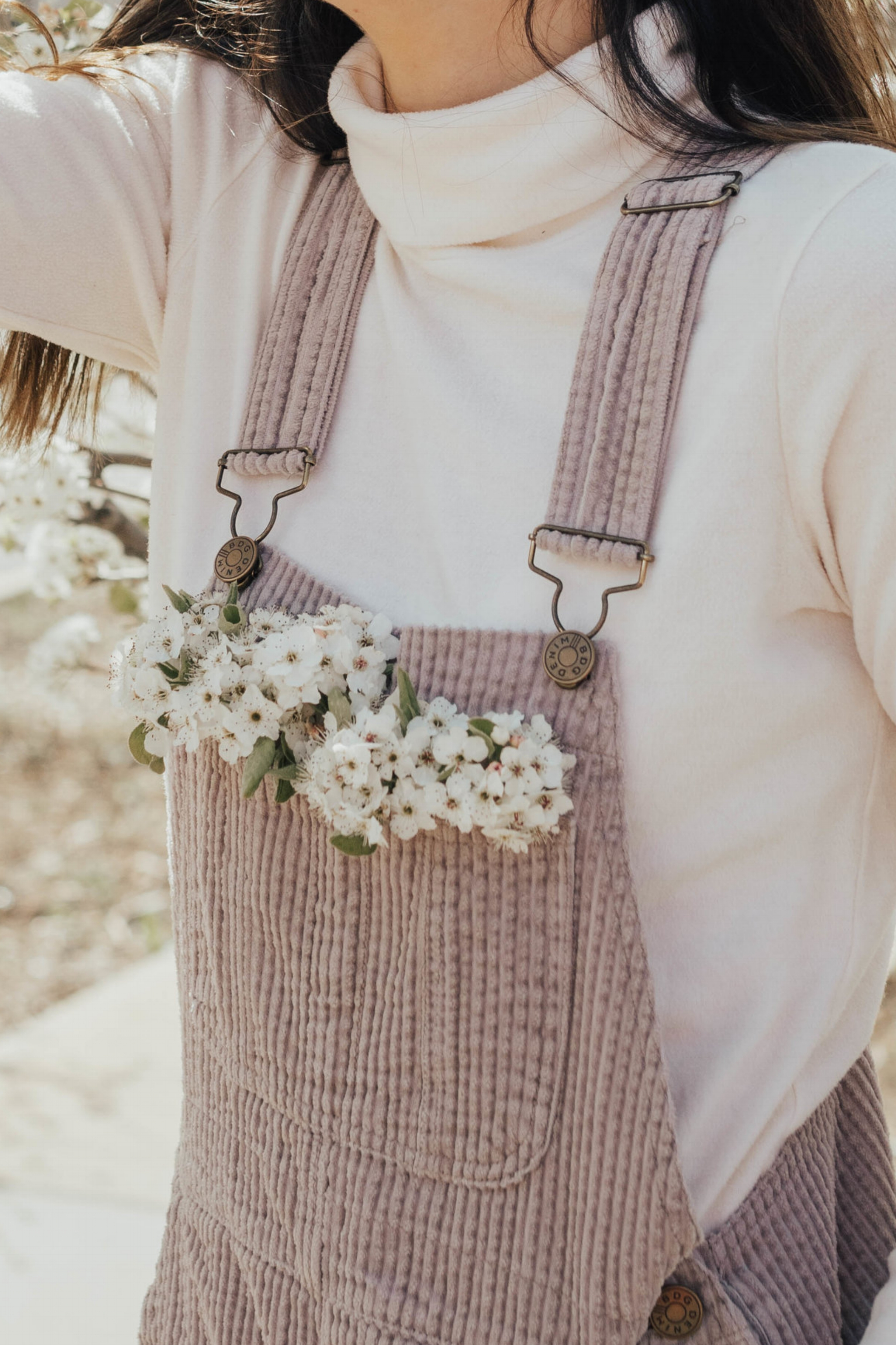 Cherry Blossoms in Overalls