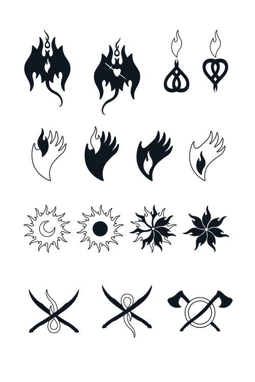 Chapter designs for the Brazilian edition ( A Caçadora de Dragões) , illustrated by  Kako