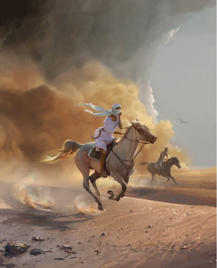 Roa and Dax in the sandstorm (from The Caged Queen). Cover image for the Dutch edition, illustrated by Elsa Kroese.