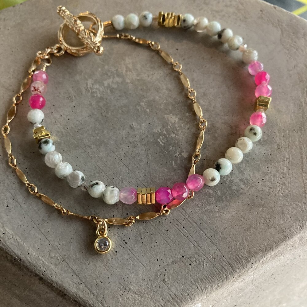 Pink Agate and Flower charm Anklet
