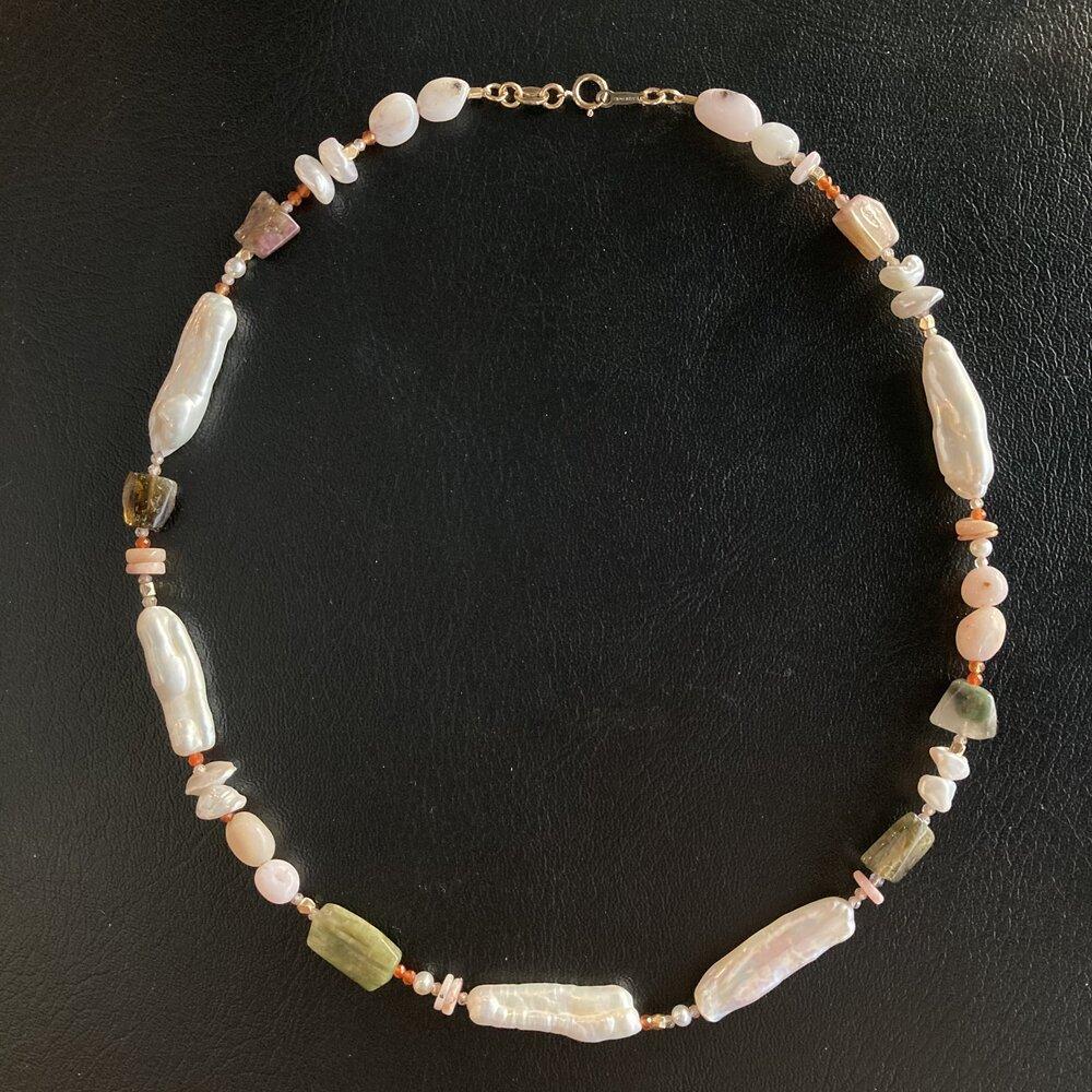 Stone Cube Necklace Long Hematite Necklace Beaded Bib Necklace Multistrand Labradorite Jewelry OOAK Geometric Statement Necklace