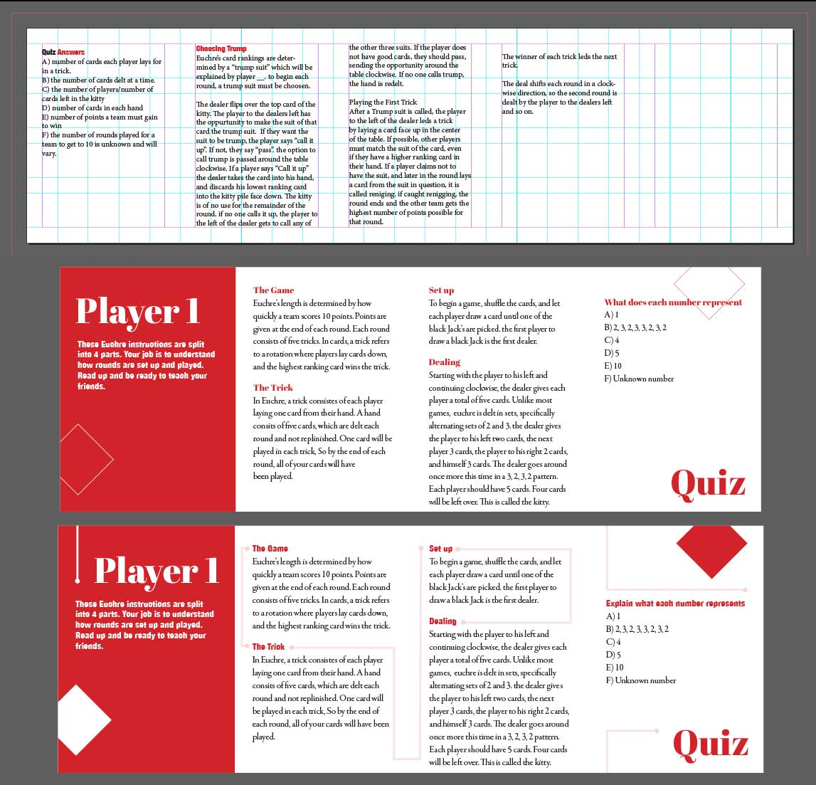 We split up the work into 3 parts, I designed the booklets, while my others on my team worked on the packaging and cards. Our main struggle at this point was how to split up the instructions in a way that made sense to each player, not just the first player. At this point, I only focused on creating a grid, and what needed to be included on a practical level. The lines on the lower set were included as a visual representation to connecting ideas together.