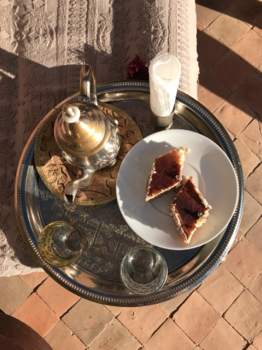 Delicious afternoon tea and cake served on traditional Moroccan silver trays at Dar Zemora.