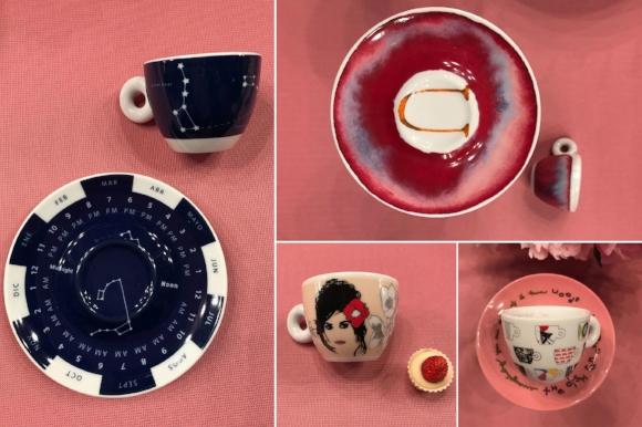 Clockwise from left, designs by: Fondazione Pistoletto, Francesco Clemente, Robert Wilson and Pedro Almodovar