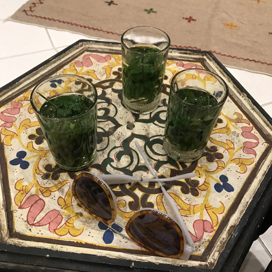 """Negotiations heating up... Billur and I got matching rugs that we joke are our new Best Friend Berber Rugs. They brought out mint tea as Billur's mom started working with them on price... Always a good sign!"""