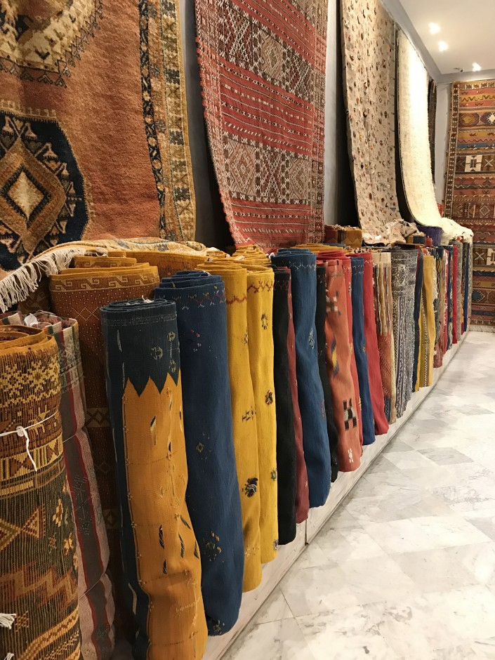 """We arrived at Aux Merveilles de Marrakech, a shop famous for their selection of handmade Berber rugs. Fettah and his team made us feel immediately at home and began showing us an incredible array of beautiful tapestries and rugs."""
