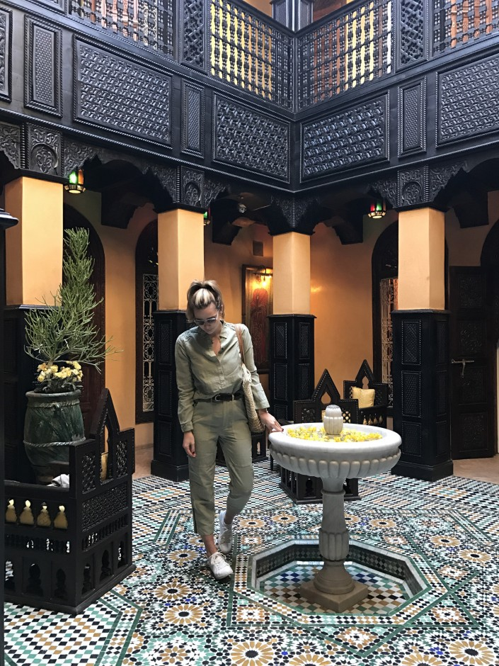 """Every inch of our Riad was this beautiful... A Riad is a traditional Moroccan house or palace with an interior garden or open courtyard. Our hotel was a converted Riad within the center of Marrakech. Tucked behind a cobblestone walkway, one would never know it was there."""