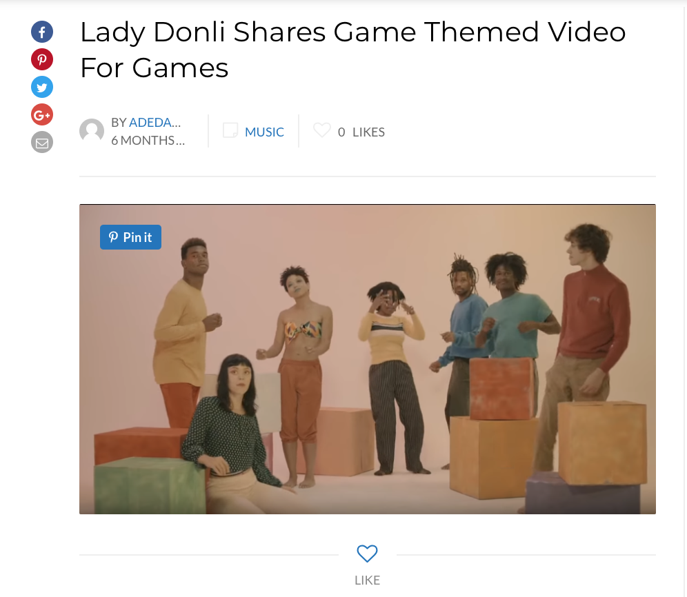 Directed by Irene Ashu, the video hosts a myriad of avant garde sceneries complete with soulful choreography and married with references from the video game that projects the core of Donli's chaotic love inspired narrative.   http://culturecustodian.com/lady-donli-shares-game-themed-video-for-games/