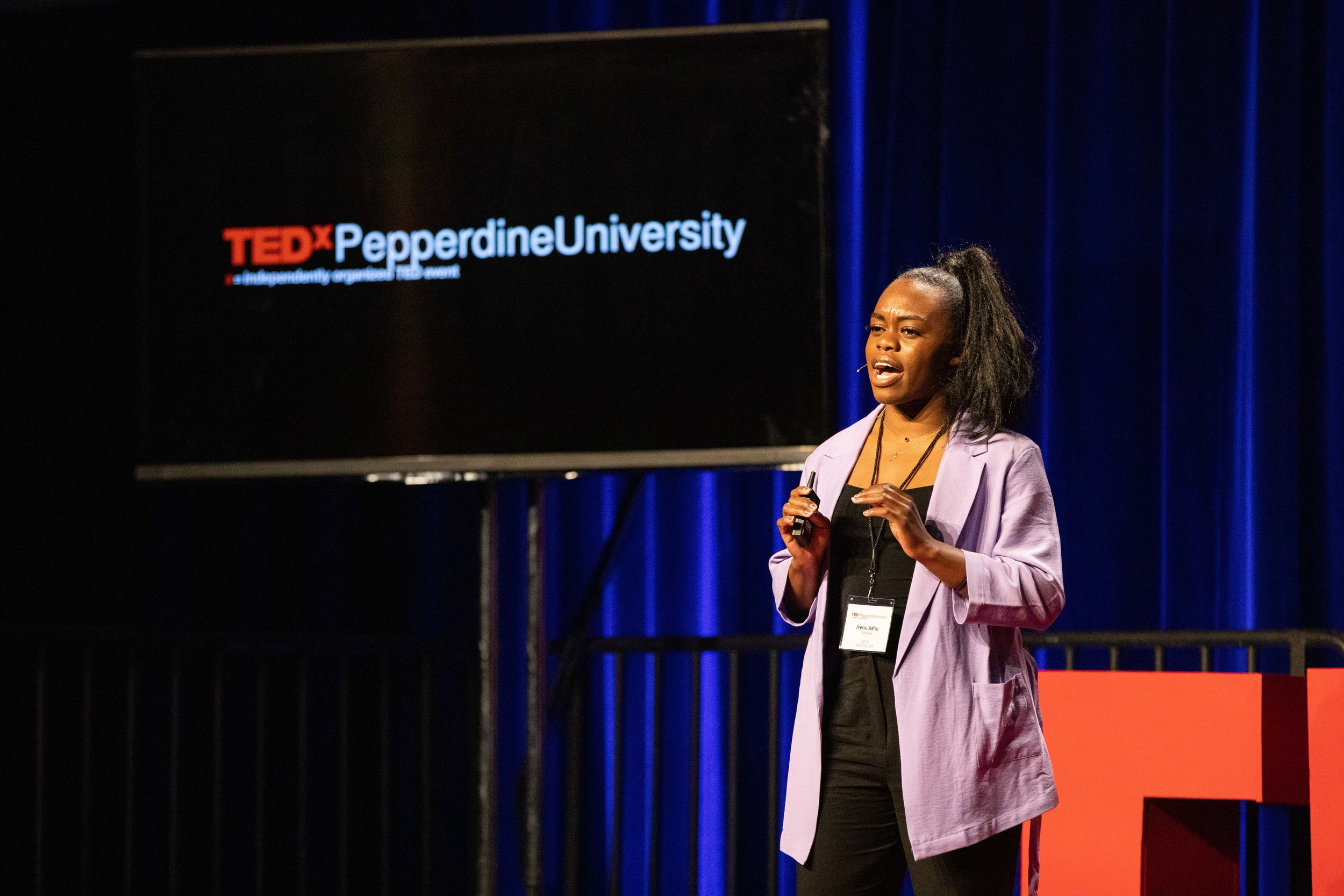 "Irene Ashu  is a director, producer, choreographer and dancer, but she said TEDxPepperdineUniversity will be her first larger speaking engagement.""I've always danced on stage but never spoke,"" Ashu said. ""The theme is 'Taking a Leap' and this is also me taking a leap myself.""  http://pepperdine-graphic.com/tedxpepperdine-speakers-give-sneak-peek-of-speeches/"