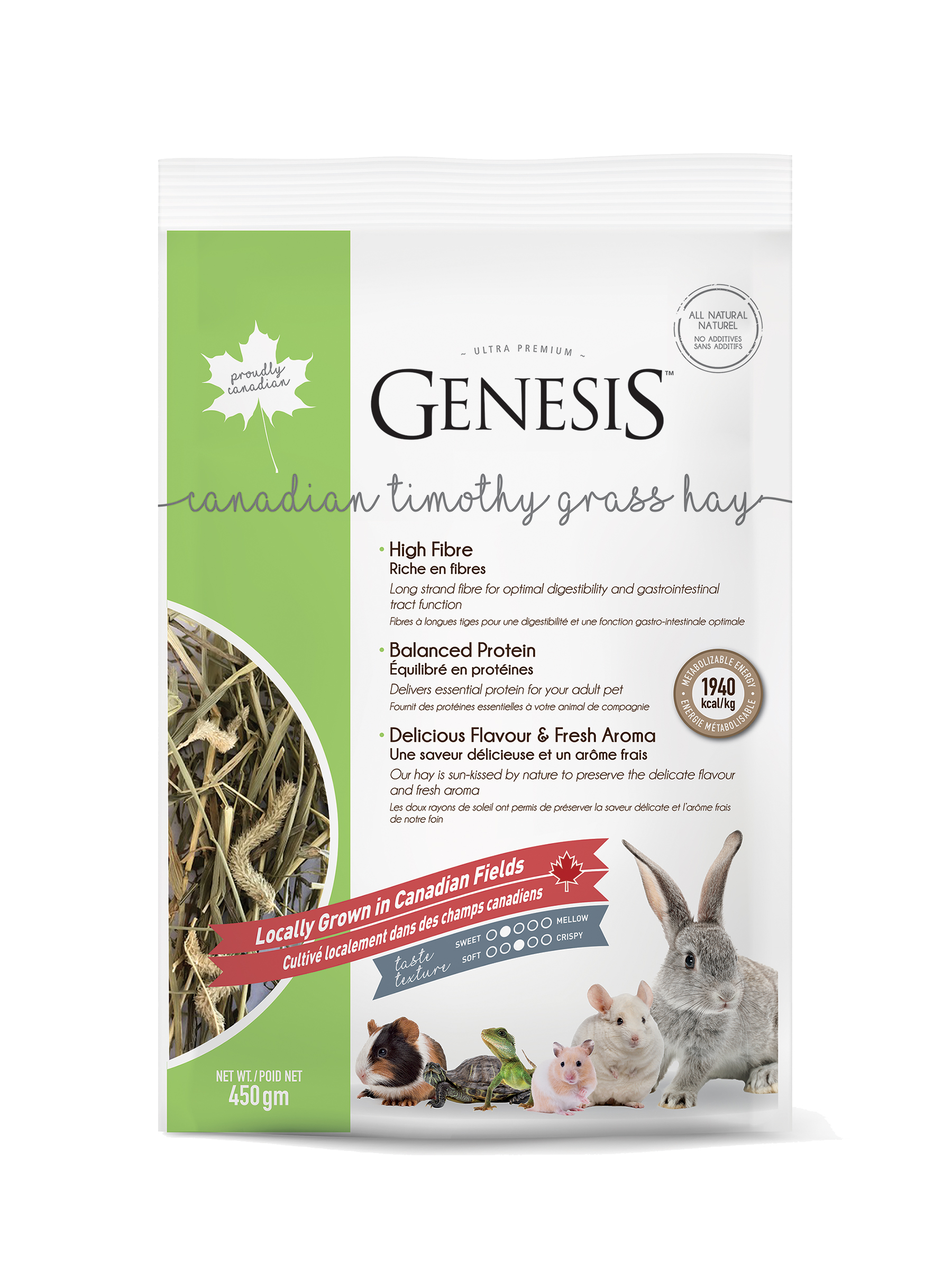 Genesis Canadian Timothy Grass Hay - A delicious mix of sun-kissed hay offering exceptional flavour and fragrance that will keep your pet coming back for more.
