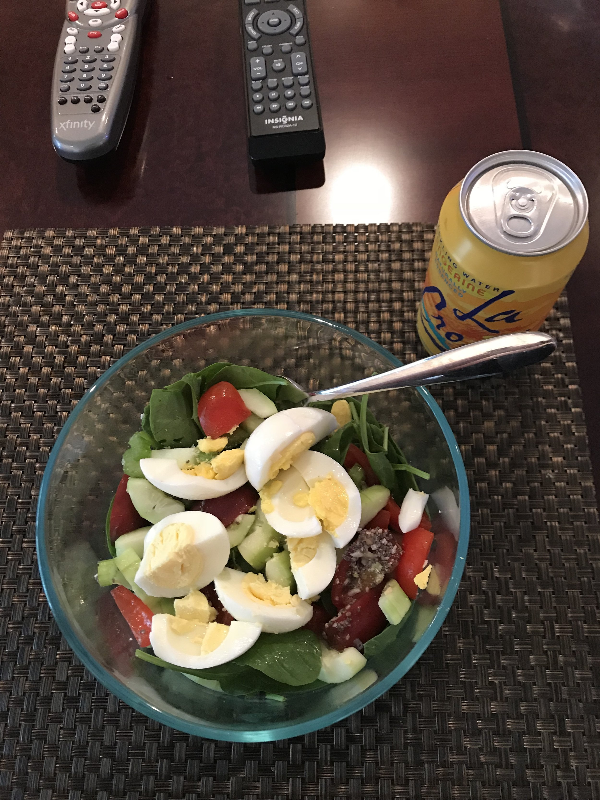 Lunch - Salad - spinach (1 green worth), cucumber, tomato and celery (combined 1 green), chia seed, sliced almonds and parmesan cheese (combined 1/2 blue), 2 hard boiled eggs (1 red), and vinagrette dressing (1 orange).