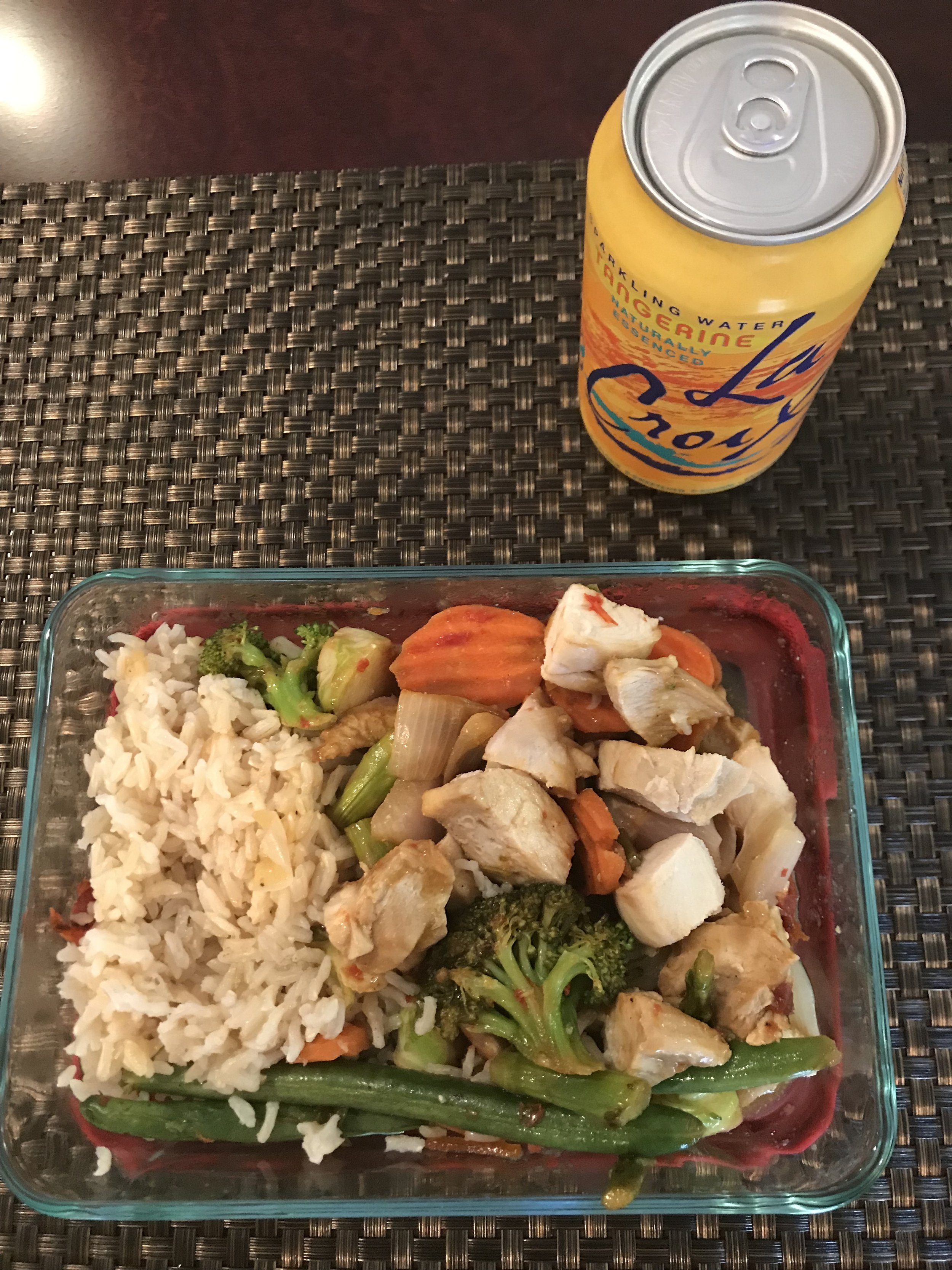 LUNCH - 4 oz of baked chicken breast, 1 cup mixed vegetables, 2 Tbsp Orange-Stir Fry Sauce, 3/4 cup brown rice, and 12 oz can of Le Croix Sparkling Water.