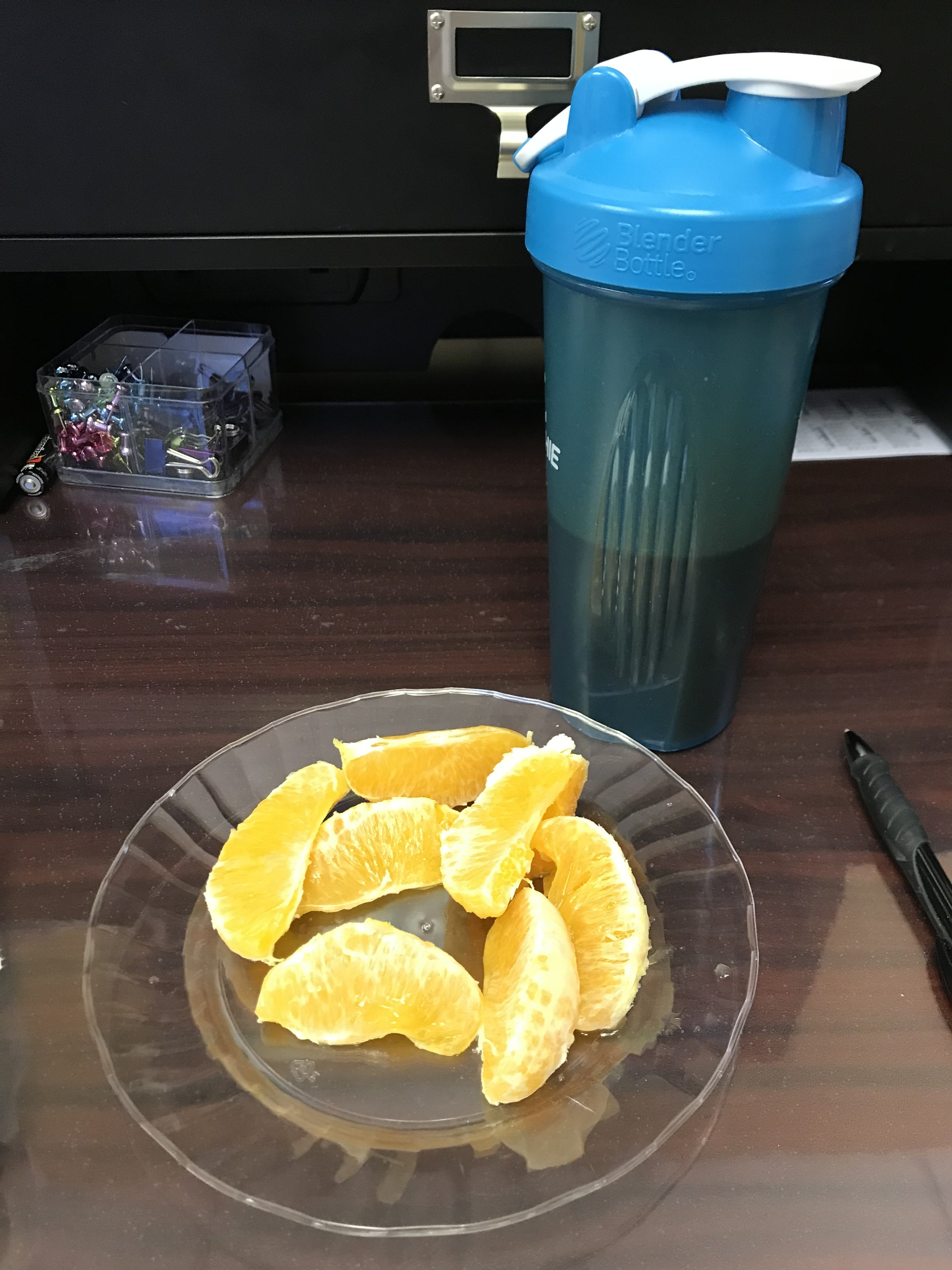 MID-AFTERNOON SNACK - Chocolate Shakeology and 1 Orange. I also had a handful of Marcona Truffle Almonds.