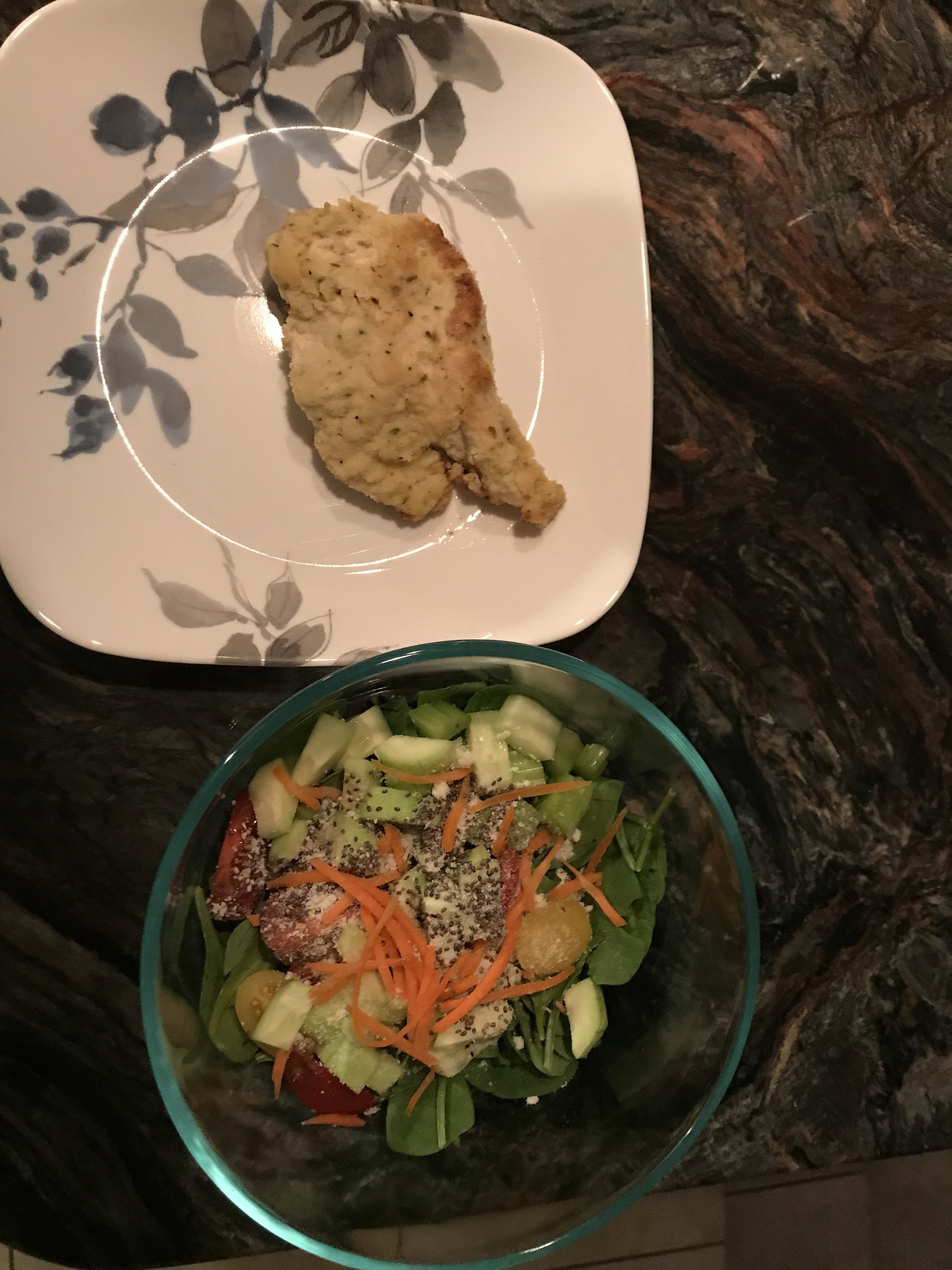 DINNER - Fixate Almond Crusted Chicken and Salad (spinach, cucumber, celery, tomato, shredded carrots, chia seeds, parmesan cheese, and Asian Sesame Dressing).