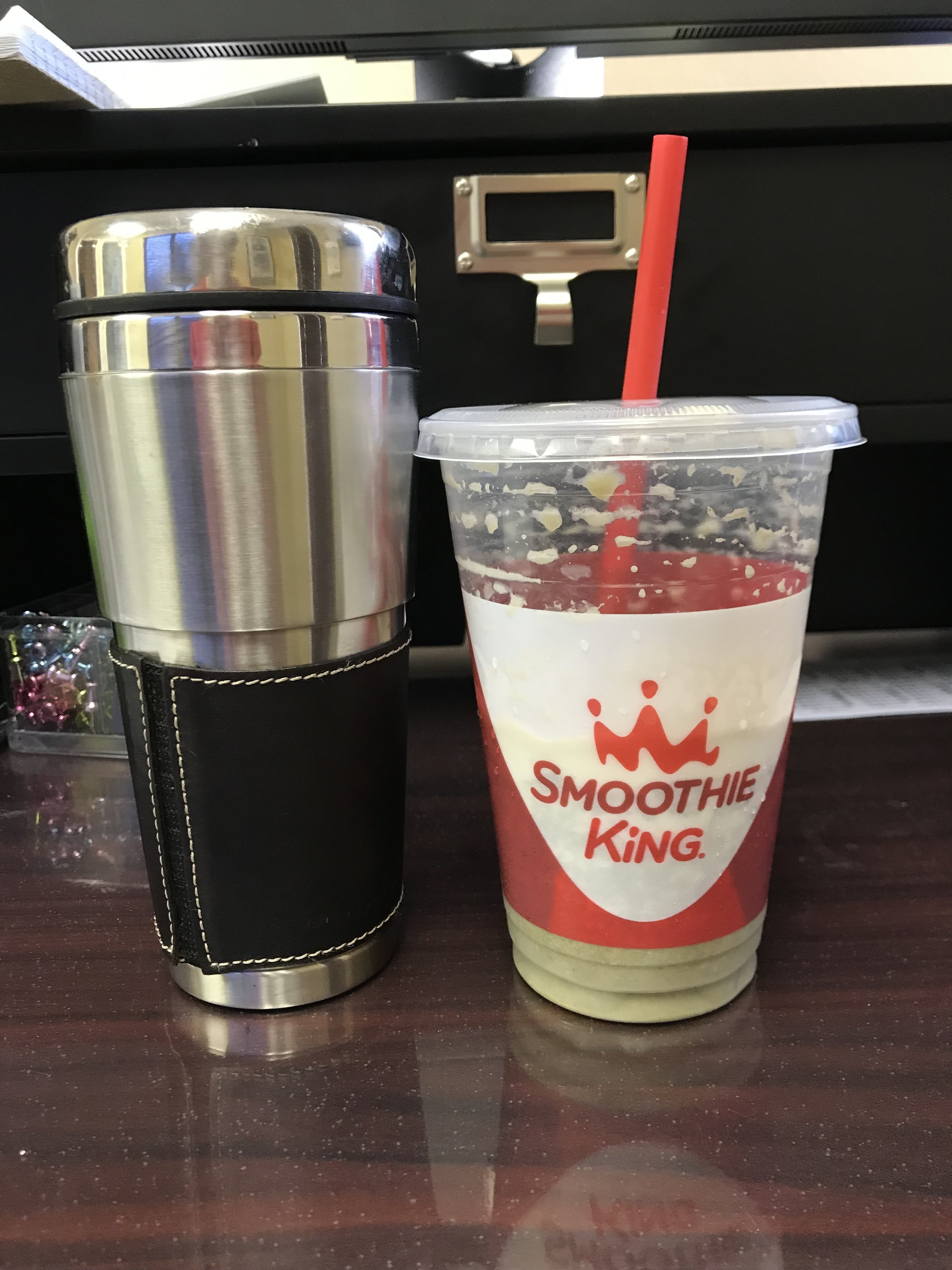 BREAKFAST - Smoothie King's Original High Protein, 20 oz, Chocolate Smoothie. I requested no dates, swapped the milk for almond milk, added spinach and fiber enhancer. Of course, can't forget coffee with Half and Half.