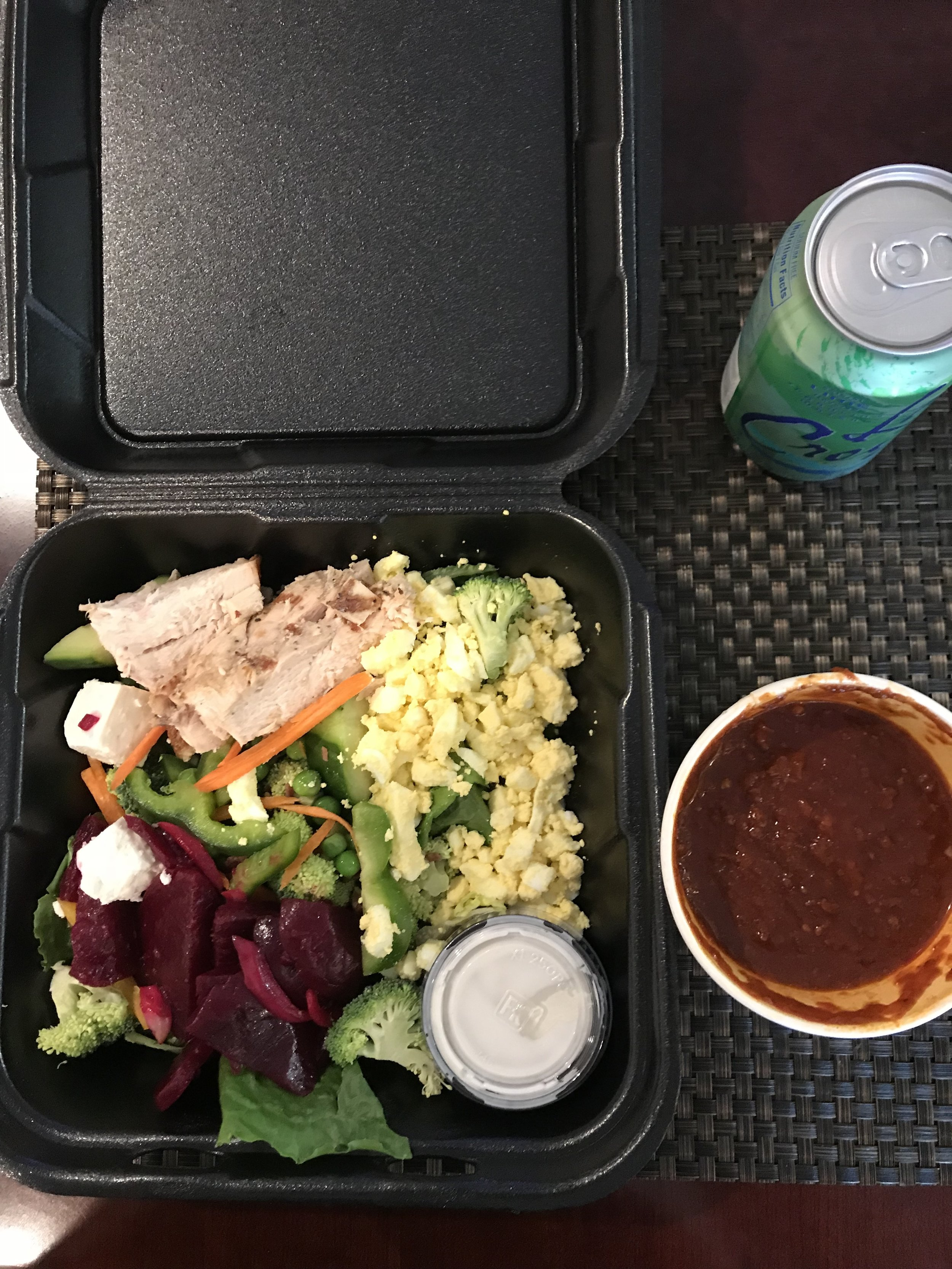 LUNCH - Salad of Romain Lettuce, Beets, Bell Peppers, Peas, Broccoli, Feta Cheese, Chicken, Hard Boiled Egg, Blue Cheese Dressing, and Chile with Beans.