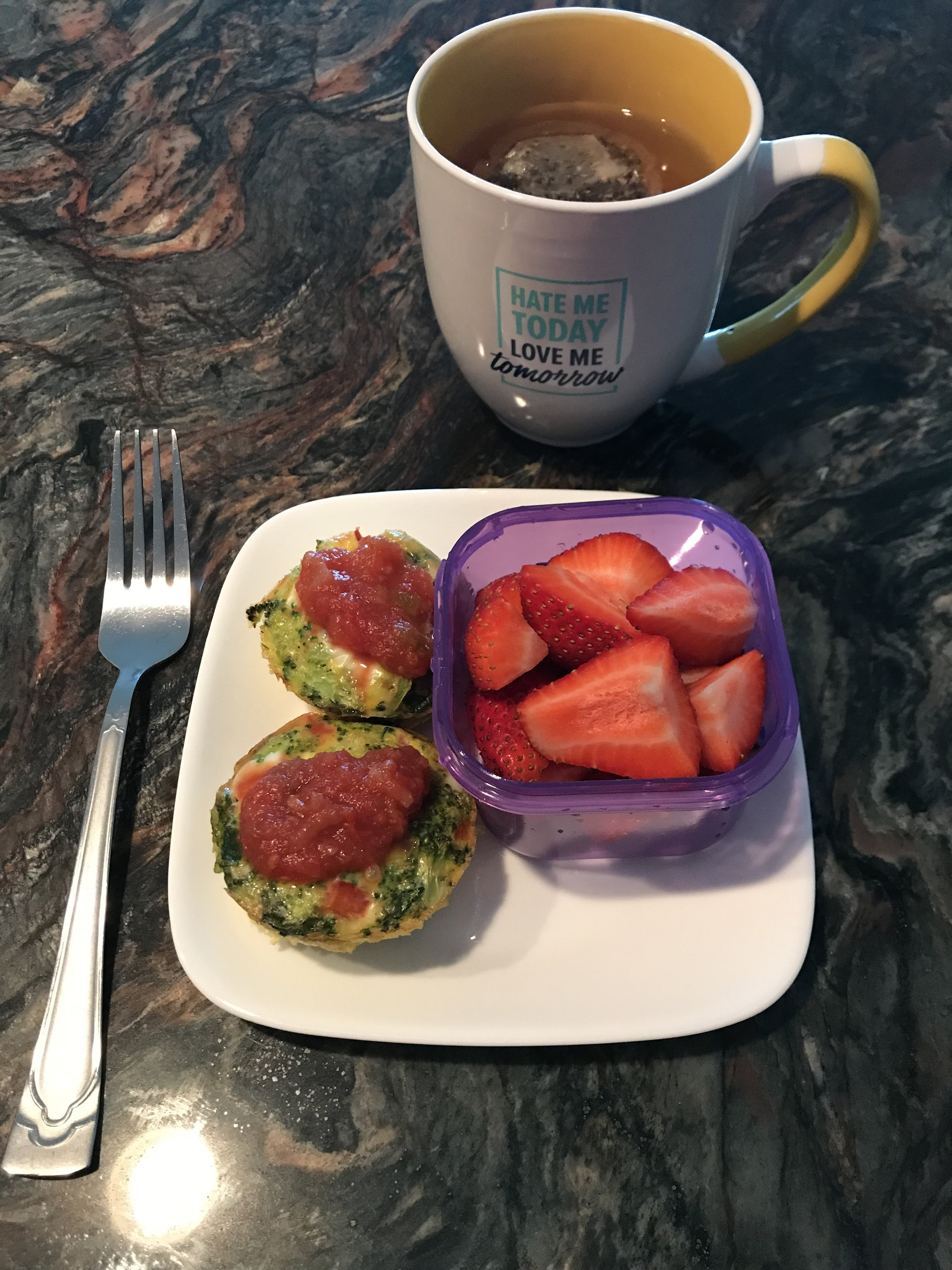 BREAKFAST - Strawberries, Vegetable Egg Cups topped with Salsa.